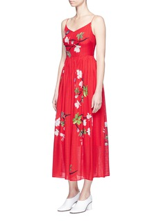 HELEN LEE Flying bunny and floral print silk dress