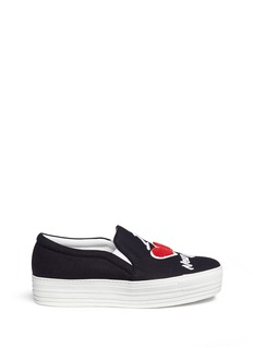 Joshua Sanders 'The Way' towelling patch slip-on sneakers