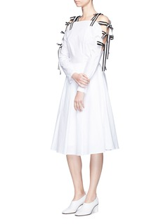 HELEN LEE Stripe ribbon tie sleeve cold shoulder dress