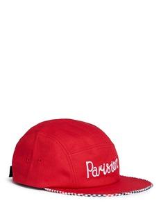 Maison Kitsuné'Parisien' embroidered gingham check trim cap