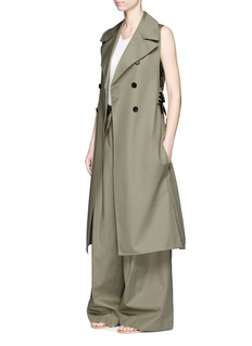 Tome Belted sleeveless cotton trench coat
