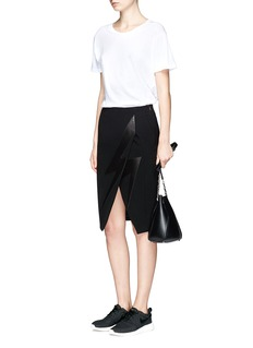 Neil Barrett Thunderbolt leather patch crepe skirt