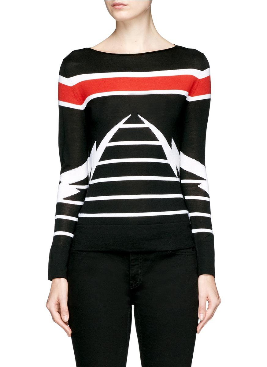 Thunderbolt stripe intarsia Merino Wool sweater by Neil Barrett