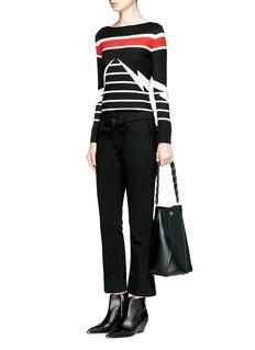 Neil BarrettThunderbolt stripe intarsia Merino Wool sweater