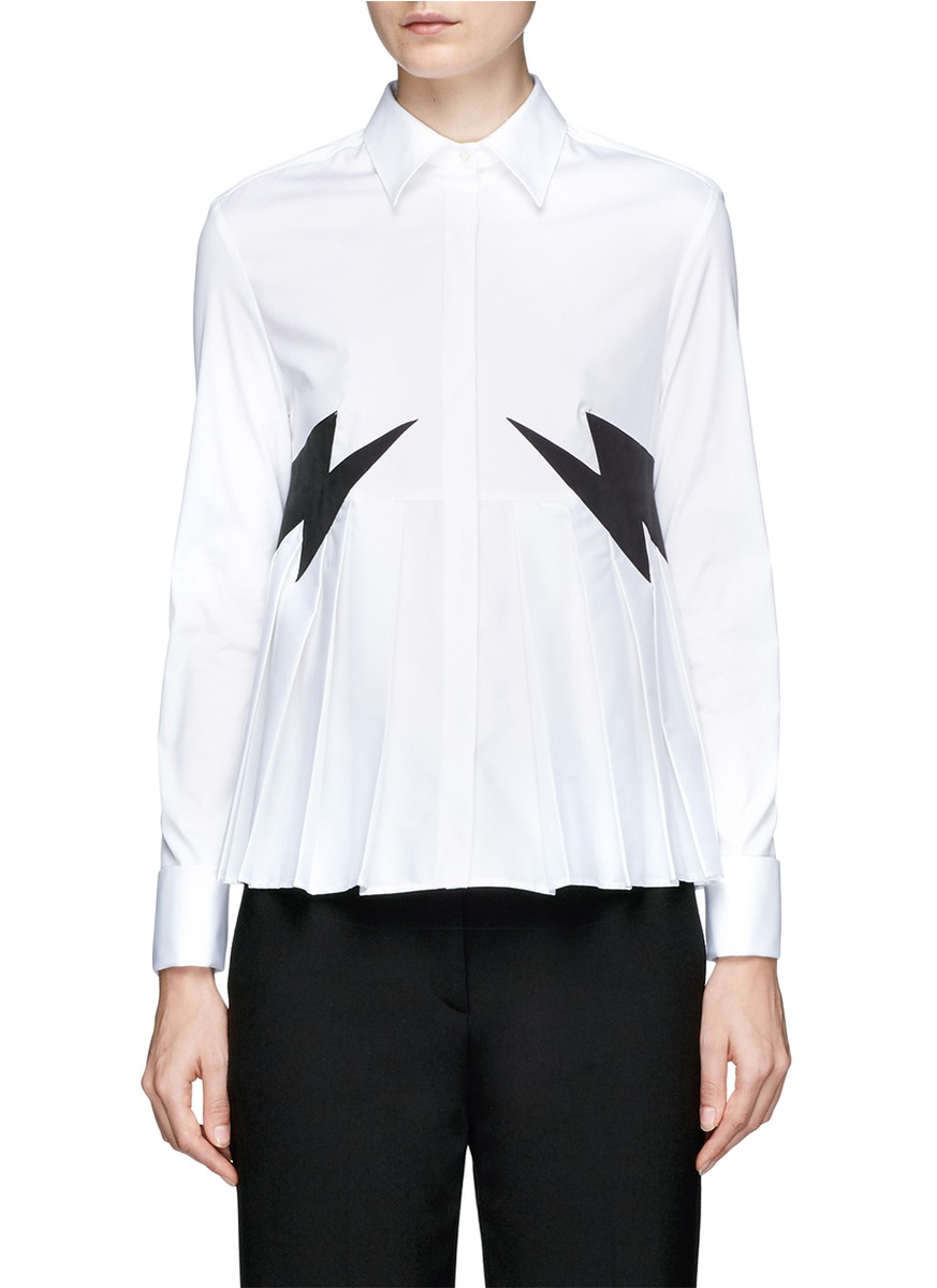 Thunderbolt patch pleated shirt by Neil Barrett