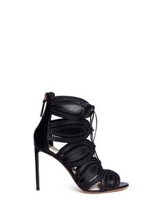 Francesco RussoCutout leather lace-up sandals