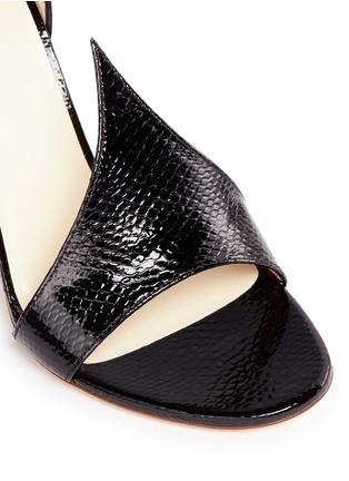 细节 - 点击放大 - FRANCESCO RUSSO - 蛇皮搭带绒面真皮高跟凉鞋