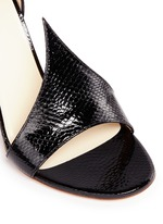 Suede patent snakeskin leather sandals