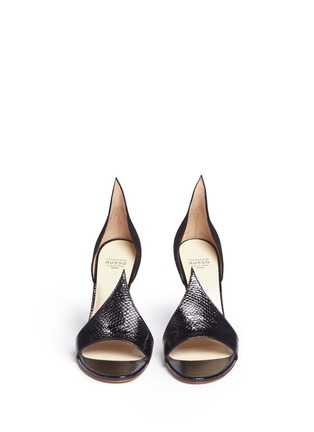 Francesco Russo-Suede patent snakeskin leather sandals