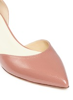 Suede patent snakeskin leather d'Orsay pumps