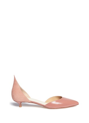 Francesco Russo - Suede patent snakeskin leather d'Orsay pumps