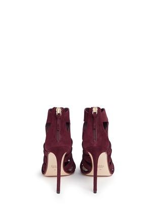背面 - 点击放大 - FRANCESCO RUSSO - 镂空设计绒面真皮高跟凉鞋