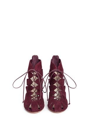 正面 -点击放大 - FRANCESCO RUSSO - 镂空设计绒面真皮高跟凉鞋
