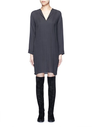 Vince-Pintuck pleat silk tunic dress