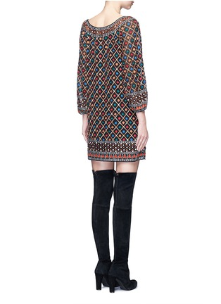 Back View - Click To Enlarge - alice + olivia - 'Gillian' floral lattice embroidery tunic dress