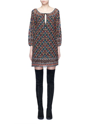 Main View - Click To Enlarge - alice + olivia - 'Gillian' floral lattice embroidery tunic dress