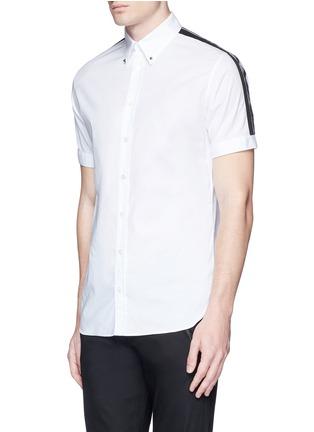 Front View - Click To Enlarge - Alexander McQueen - 'Brad Pitt' grosgrain stripe stud cotton shirt