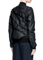Ripple effect drape leather bomber flight jacket