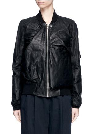 Rick Owens-Ripple effect drape leather bomber flight jacket