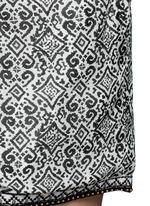 Beaded cuff tribal print cotton-silk shorts