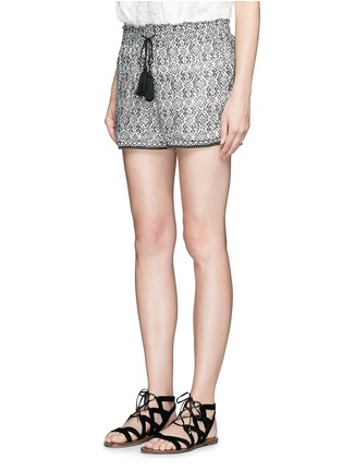 Front View - Click To Enlarge - Talitha - Beaded cuff tribal print cotton-silk shorts