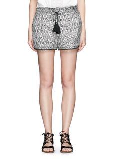 TalithaBeaded cuff tribal print cotton-silk shorts
