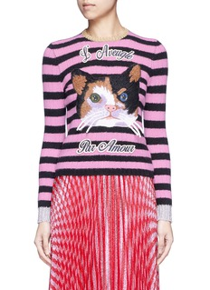 GucciCat embroidery cashmere-Merino wool sweater