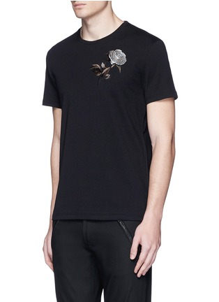 Front View - Click To Enlarge - Alexander McQueen - Floral embroidery jersey T-shirt