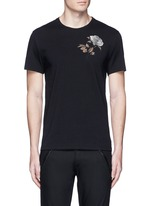 Floral embroidery jersey T-shirt