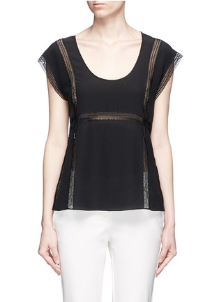 Main View - Click To Enlarge - Theory - 'Raballa' lace insert silk top