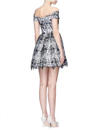 Back View - Click To Enlarge - alice + olivia - 'Izabelle' floral embroidery off-shoulder flare dress