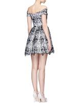 'Izabelle' floral embroidery off-shoulder flare dress