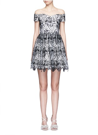Main View - Click To Enlarge - alice + olivia - 'Izabelle' floral embroidery off-shoulder flare dress