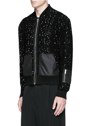 Front View - Click To Enlarge - Alexander McQueen - Distressed open knit bomber jacket