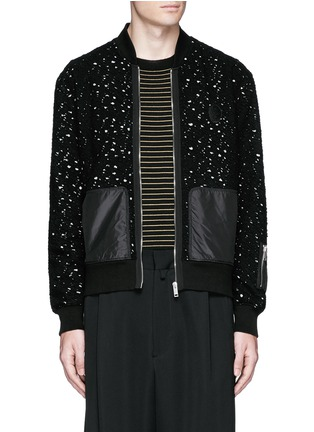 Main View - Click To Enlarge - Alexander McQueen - Distressed open knit bomber jacket