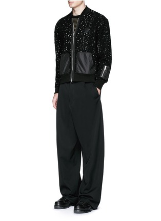 Figure View - Click To Enlarge - Alexander McQueen - Distressed open knit bomber jacket