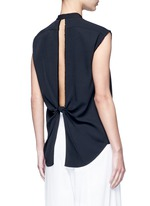 Split back knot jacquard twill shirt