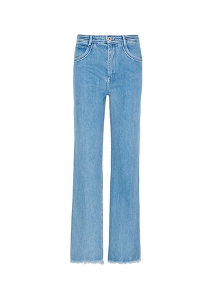 Main View - Click To Enlarge - Chloé - Frayed cuff cotton jeans
