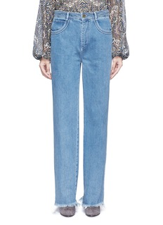 ChloéFrayed cuff cotton jeans