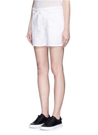 Front View - Click To Enlarge - James Perse - Cotton-linen piqué shorts
