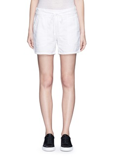 James Perse Cotton-linen piqué shorts
