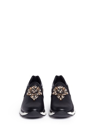 Front View - Click To Enlarge - René Caovilla - Strass embellished mix leather slip-on sneakers