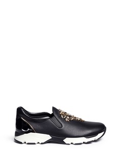 René Caovilla Strass embellished mix leather slip-on sneakers