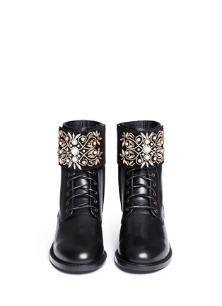 Front View - Click To Enlarge - René Caovilla - 'Biker' crystal embellished suede cuff leather boots