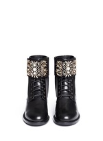 'Biker' crystal embellished suede cuff leather boots