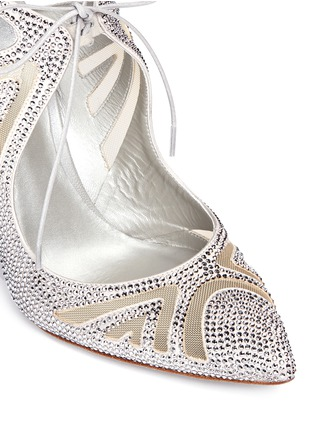 Detail View - Click To Enlarge - René Caovilla - Cutout strass pavé satin pumps