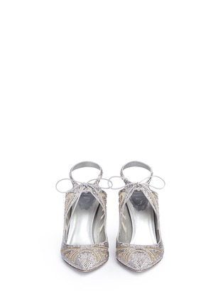 Front View - Click To Enlarge - René Caovilla - Cutout strass pavé satin pumps