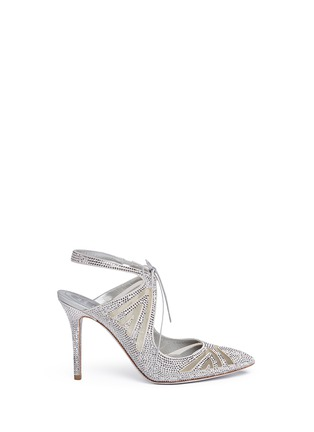 Main View - Click To Enlarge - René Caovilla - Cutout strass pavé satin pumps