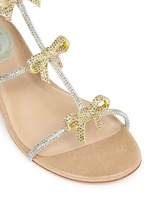 Strass pavé bow satin sandals