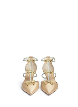 Front View - Click To Enlarge - René Caovilla - Strass pavé satin bow suede pumps
